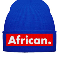 AFRICAN embroidery - Beanie Cuffed Knit Cap