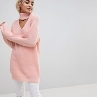 Glamorous Petite Relaxed Sweater With Cut Out High Neck at asos.com