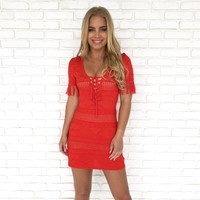 Let's Getaway Cover Up Dress in Red
