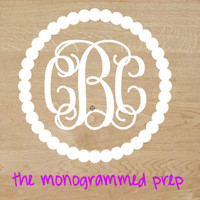 Vine Circle Monogram Car Decal Sticker