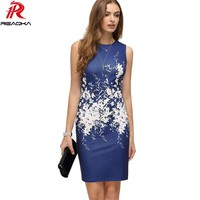 Casual Floral Print Women Summer Dress 2018 New Sexy Vintage Sleeveless Sundress Womens Work Office Mini Bodycon Party Dresses