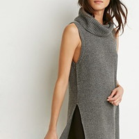 Side-Slit Turtleneck Top