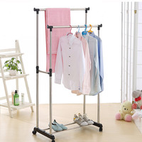 Adjustable Steel Double Rail Clothes Garment Dress Hanging Rack
