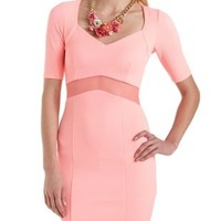 Neon Coral Mesh Inset Bodycon Textured Knit Dress by Charlotte Russe