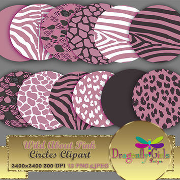 """80% OFF Sale WILDAbout Pink 8"""" Clip Art, commercial use,digital scrapbook papers, vector graphics, printable, Instant Download"""