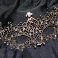 Metal Masquerade Mask with Blush and Champagne Accents