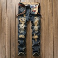Ripped Holes Slim Weathered Strong Character Jeans [1922679767133]
