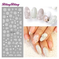 2 sheets Wedding Nail Sticker White Flower Nail Water Decals New Nail Art Sticker Chaste Nail Decorations