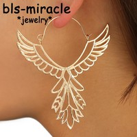 Bls-miracle Hollow Thunderbird Shape Drop Earring Women Large Wing Feather Piercing Hook Earrings Boho Statement Jewelry E-X-027