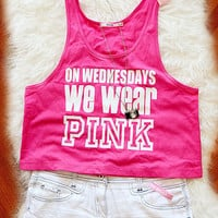On Wednesdays We Wear Pink Crop Tank Top