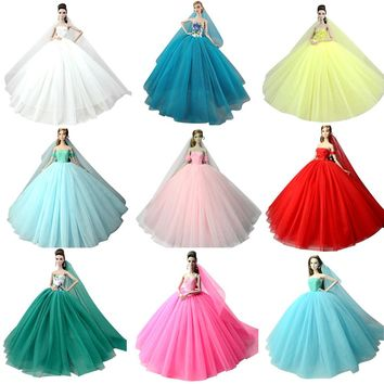 NK Mix Doll Dress High Quality Handmade Long Tail Evening Gown Clothes Lace Wedding Dress  For Barbie Doll Accessories Best Gift