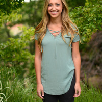 Pull It Together Top- Dusty Green