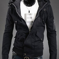 Black Double Stand Collar Zipper Details Long Sleeves Jacket