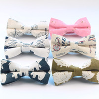 Men's Cool Linen Printed Hedgehog Boat Bear Whale Bowtie Man Neck Tie Cashew Nut Bowknot Gravatas Necktie Summer Butterfly Ties