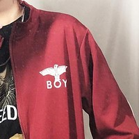 London Boy Fashion New Letter Eagle Print Long Sleeve Coat Burgundy