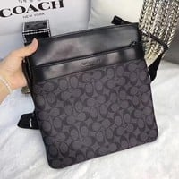 COACH MEN PVC LEATHER INCLINED SHOULDER BAG