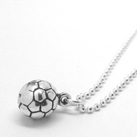 Soccer Ball Necklace, Sterling Silver
