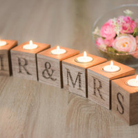 Mr Mrs Table Sign Sweet Table Wedding Decoration Table Signs Candle Holders Rustic Wooden Sign Standing Mr Mrs Centerpiece Wedding Sign
