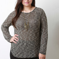 Marled Loose Knit Long Sleeves High Low Top