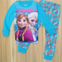 Children Pajamas Cartoon Printing Fashion Long Sleeved Boys Girls Sleepwear Frozen Elsa and Anna Cute Soft Breathable Winter Kids Clothing