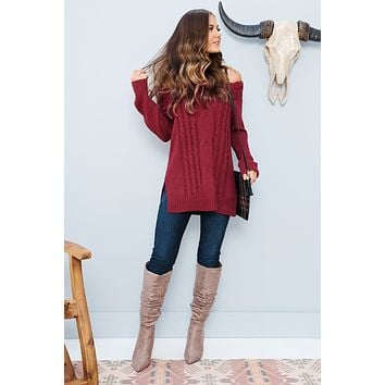 Won't Let You Go Sweater (Cranberry)
