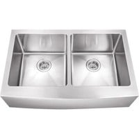 Schon All-in-One Apron Front Stainless steel 33 in. Double Bowl Kitchen Sink-SCAP505016 - The Home Depot
