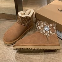 Dior x UGG new fashion short flat anti ski boots shoes