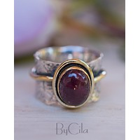 Cassie Ring * Ruby * Sterling Silver and Gold Vermeil * BJR206