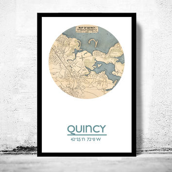 QUINCY - city poster - city map poster print