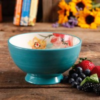 "The Pioneer Woman Flea Market 6"" Decorated Footed Bowls, Turquoise & Floral, Set of 4 - Walmart.com"