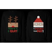 Rudolph and Santa Couple SweatShirts Funny Sweaters for Christmas Gift