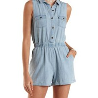 Sleeveless Light Wash Denim Romper