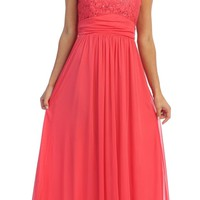 Coral Lace Bodice A-Line Long Semi Formal Dress Queen Anne Neckline