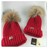 UGG Autumn and winter leisure wild knit hair ball wool cap parent-child cap Bright red