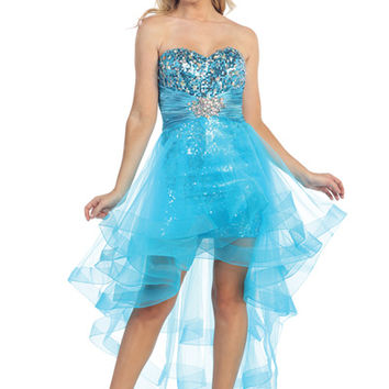 2013 Homecoming Dresses Turquoise Cascading Diva Strapless Sparkle & Organza Gown