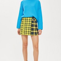 Mixed Check Buckle Kilt Mini Skirt | Topshop