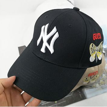 NY New fashion embroidery letter butterfly couple cap hat Black