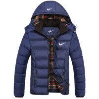 """""""NIKE"""" Men Trending Long Sleeve Cardigan Bread Down Coat Cotton-padded Clothes Jacket G"""