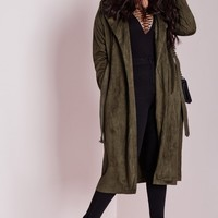 Missguided - Plus Size Faux Suede Trench Coat Khaki