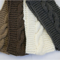 Handmade Knit Cable headband with plait, ear warmer, head wrap, dark brown, with wool