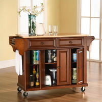 Natural Wood Top Kitchen Cart in Classic Cherry Finish by Crosley