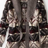AEO Women's Patterned Open Shawl Cardigan (Grey)