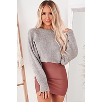 Think It Over Knit Sweater (Heather Grey)