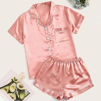 Contrast Binding Satin Pajama Set