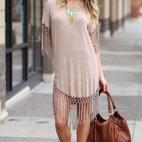 Boho Stone Washed Fringe Tunic Dress (Beige)
