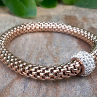 Sterling Silver Rose Gold Mesh Rope Pave Cubic Zirconia Accented Bracelet Clear Crystal Stainles Steel Stertch Chain Bracelet, Free Shipping