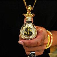 Iced Out Money Bag Pendant