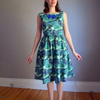 NEW. The Stitch in Time Dress. Blue & Green. 1960s Vintage Inspired. XS - XL. Petite. Tall.