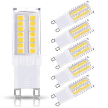 JandCase G9 LED Light Bulb, 40W Equivalent, 5W, 400LM, Soft White (3000K), G9 Base, LED Halogen Replacement Bulbs for Home Lighting, Ceiling Fan, Chandelier, Bedroom, Not Dimmable, 5 Pack