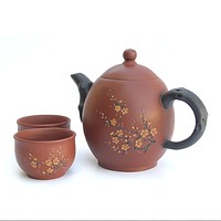 Red Oval Cherry Blossom Yixing Tea Set